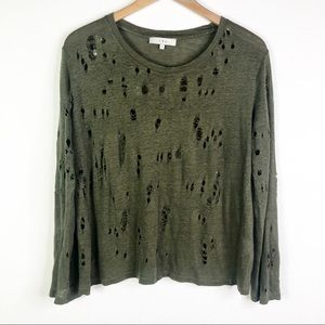 IRO Green Distressed Long Sleeve T-shirt w/ holes